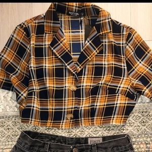 Plaid crop top and LF Levi shorts
